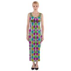 Wood And Flower Trees With Smiles Of Gold Fitted Maxi Dress