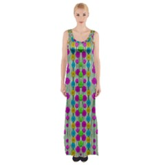 Wood And Flower Trees With Smiles Of Gold Maxi Thigh Split Dress