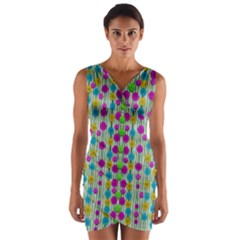 Wood And Flower Trees With Smiles Of Gold Wrap Front Bodycon Dress
