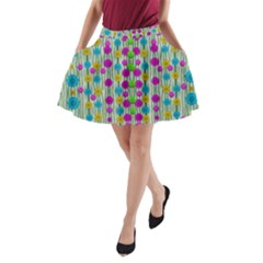 Wood And Flower Trees With Smiles Of Gold A-Line Pocket Skirt