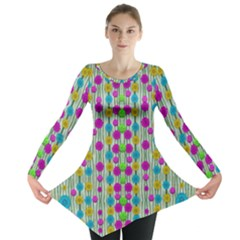 Wood And Flower Trees With Smiles Of Gold Long Sleeve Tunic