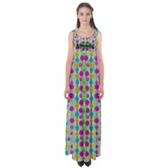 Wood And Flower Trees With Smiles Of Gold Empire Waist Maxi Dress