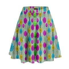 Wood And Flower Trees With Smiles Of Gold High Waist Skirt