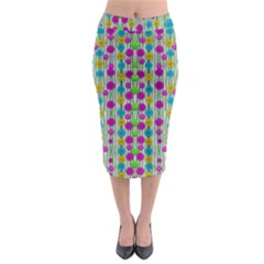 Wood And Flower Trees With Smiles Of Gold Midi Pencil Skirt