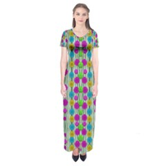 Wood And Flower Trees With Smiles Of Gold Short Sleeve Maxi Dress
