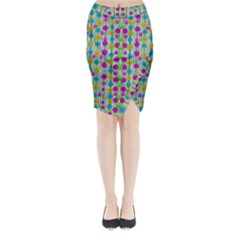 Wood And Flower Trees With Smiles Of Gold Midi Wrap Pencil Skirt