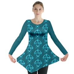 Mystic Teal Pagan Pentacle Wiccan Long Sleeve Tunic