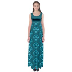 Mystic Teal Pagan Pentacle Wiccan Empire Waist Maxi Dress
