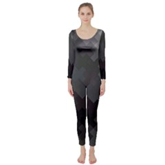 Abstract Pattern Moving Transverse Long Sleeve Catsuit