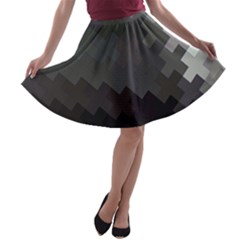 Abstract Pattern Moving Transverse A Line Skater Skirt