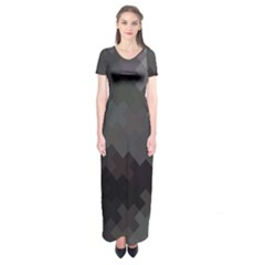 Abstract Pattern Moving Transverse Short Sleeve Maxi Dress