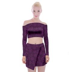 Pattern Off Shoulder Top with Skirt Set