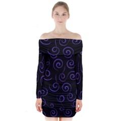 Pattern Long Sleeve Off Shoulder Dress