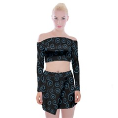 Pattern Off Shoulder Top with Skirt Set