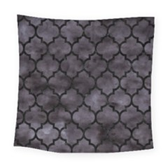 Tile1 Black Marble & Black Watercolor (r) Square Tapestry (large)