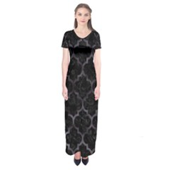 Tile1 Black Marble & Black Watercolor Short Sleeve Maxi Dress
