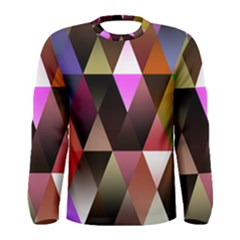Triangles Abstract Triangle Background Pattern Men s Long Sleeve Tee