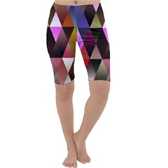 Triangles Abstract Triangle Background Pattern Cropped Leggings