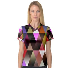 Triangles Abstract Triangle Background Pattern Women s V-Neck Sport Mesh Tee