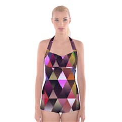 Triangles Abstract Triangle Background Pattern Boyleg Halter Swimsuit
