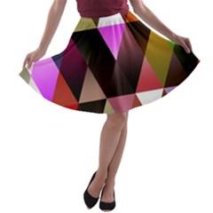 Triangles Abstract Triangle Background Pattern A-line Skater Skirt