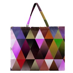Triangles Abstract Triangle Background Pattern Zipper Large Tote Bag