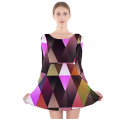 Triangles Abstract Triangle Background Pattern Long Sleeve Velvet Skater Dress