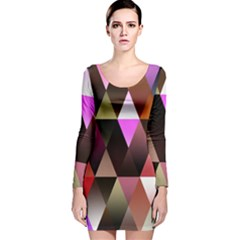 Triangles Abstract Triangle Background Pattern Long Sleeve Velvet Bodycon Dress