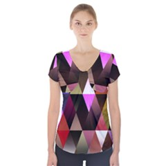 Triangles Abstract Triangle Background Pattern Short Sleeve Front Detail Top