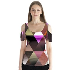 Triangles Abstract Triangle Background Pattern Butterfly Sleeve Cutout Tee