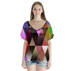 Triangles Abstract Triangle Background Pattern Flutter Sleeve Top