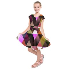 Triangles Abstract Triangle Background Pattern Kids  Short Sleeve Dress