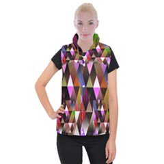 Triangles Abstract Triangle Background Pattern Women s Button Up Puffer Vest