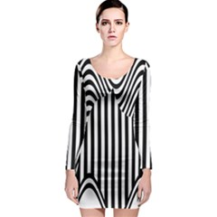 Stripe Abstract Stripped Geometric Background Long Sleeve Bodycon Dress