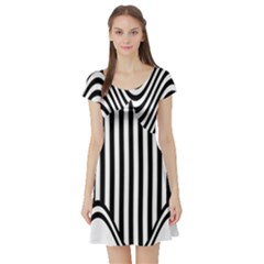 Stripe Abstract Stripped Geometric Background Short Sleeve Skater Dress