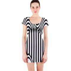 Stripe Abstract Stripped Geometric Background Short Sleeve Bodycon Dress