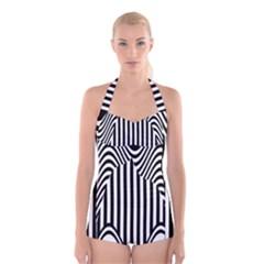 Stripe Abstract Stripped Geometric Background Boyleg Halter Swimsuit