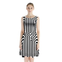Stripe Abstract Stripped Geometric Background Sleeveless Chiffon Waist Tie Dress