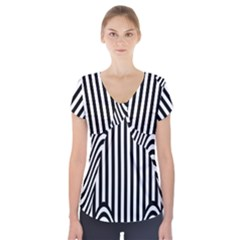 Stripe Abstract Stripped Geometric Background Short Sleeve Front Detail Top