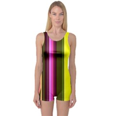 Stripes Abstract Background Pattern One Piece Boyleg Swimsuit