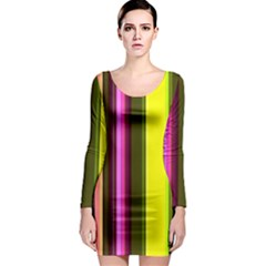 Stripes Abstract Background Pattern Long Sleeve Bodycon Dress