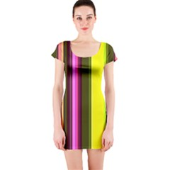 Stripes Abstract Background Pattern Short Sleeve Bodycon Dress