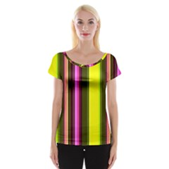 Stripes Abstract Background Pattern Women s Cap Sleeve Top