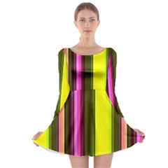 Stripes Abstract Background Pattern Long Sleeve Skater Dress