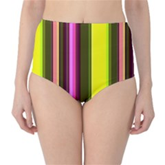 Stripes Abstract Background Pattern High-Waist Bikini Bottoms