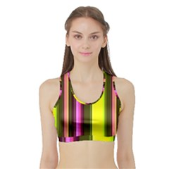 Stripes Abstract Background Pattern Sports Bra With Border