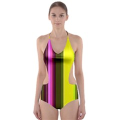 Stripes Abstract Background Pattern Cut-Out One Piece Swimsuit