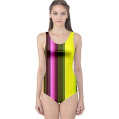 Stripes Abstract Background Pattern One Piece Swimsuit