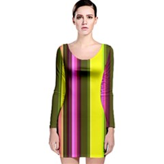 Stripes Abstract Background Pattern Long Sleeve Velvet Bodycon Dress