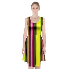 Stripes Abstract Background Pattern Racerback Midi Dress